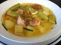 Image : Assiette de soupe au lard et patates douces