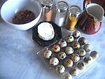 Ingrédients pour la recette : Oeufs de caille au Rocamadour