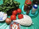Ingrédients pour la recette : Tomates farcies et sauce aux haricots secs