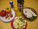 Ingrédients pour la recette : Seiches aux champignons et poivrons