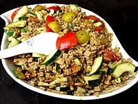 Image : Salade végétarienne aux crozets et aux mirabelles