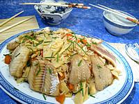Recette Assiette de colin aux pousses de bambou