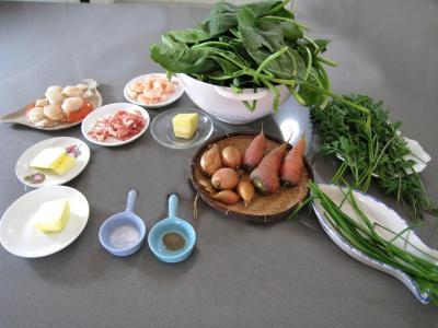 Ingrédients pour la recette : Epinards aux fruits de mer