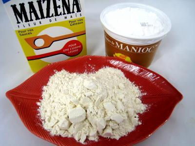 Photo : Différentes fécules et farine de blé
