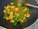 Sauté de crevettes aux légumes