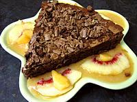 Gâteau au chocolat et coulis de melon