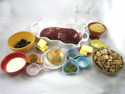 Ingrédients pour la recette : Rôti de biche aux morilles et au riz