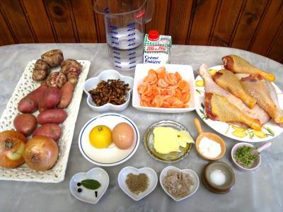Ingrédients pour la recette : Abattis et pilons en blanquette