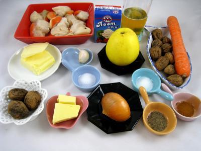 Ingrédients pour la recette : Noix de Saint-Jacques au cidre et aux noix