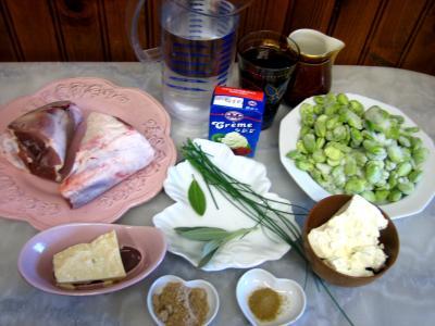 Ingrédients pour la recette : Souris d'agneau aux fèves et au parmesan