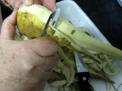 Chapon aux pommes et légumes avec sauce au champagne et armagnac - 4.2