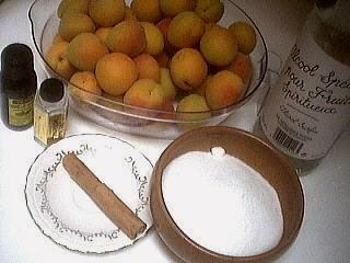 Ingrédients pour la recette : Abricots à l'eau de vie