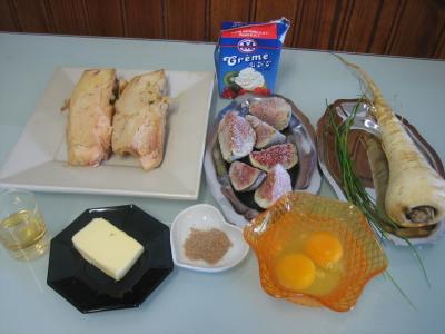 Ingrédients pour la recette : Flans de foie gras aux panais et aux figues