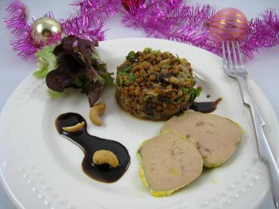 Foie gras aux lentilles et vinaigre balsamique