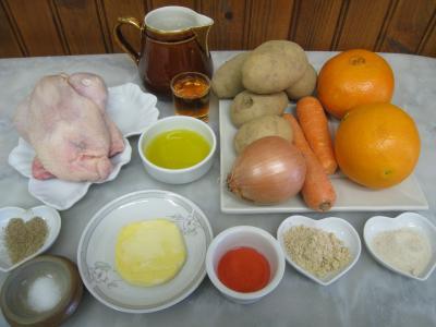 Ingrédients pour la recette : Coquelet à l'orange