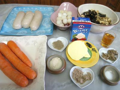 Ingrédients pour la recette : Boudins blancs aux champignons noirs et aux chiitakes