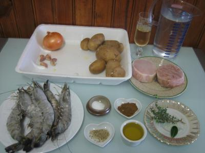 Ingrédients pour la recette : Cotriade de thon et gambas au champagne