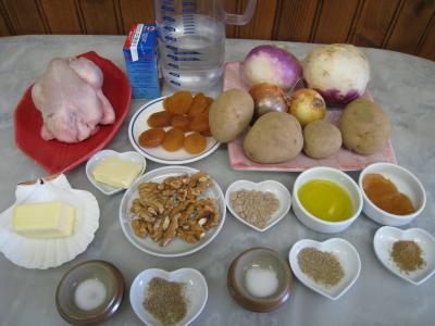 Ingrédients pour la recette : Coquelet au miel et sa purée de navets