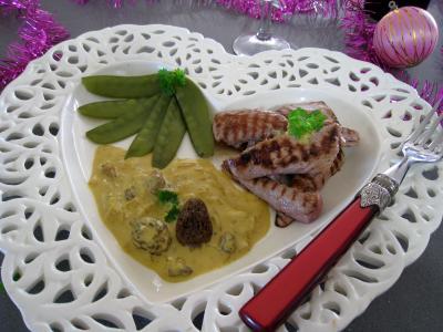 Recette Aiguillettes à l'Amaretto et aux pois gourmands