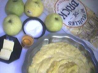 Ingrédients pour la recette : Galette des rois aux pommes et brick