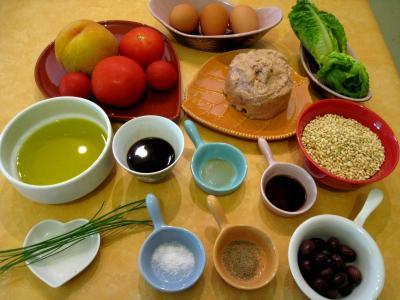 Ingrédients pour la recette : Salade de thon aux pêches