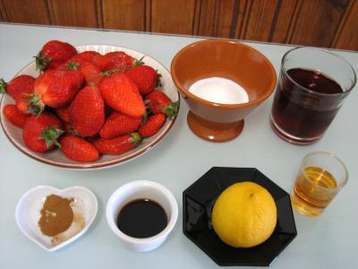 Ingrédients pour la recette : Fraises au vin rosé