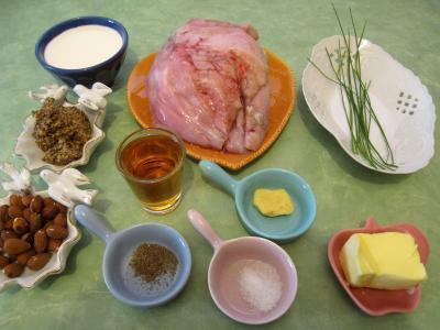 Ingrédients pour la recette : Ris de veau au bourbon et aux amandes