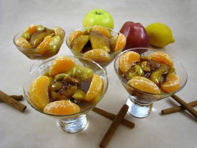 Image : Coupes de pommes et poires caramélisées