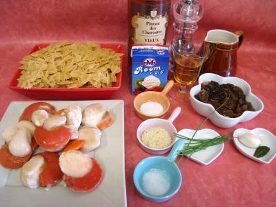 Ingrédients pour la recette : Coquilles Saint-Jacques aux farfalles