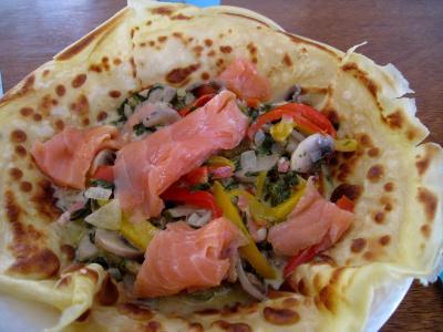 Crêpes aux épinards, aux champignons et son saumon fumé - 11.1