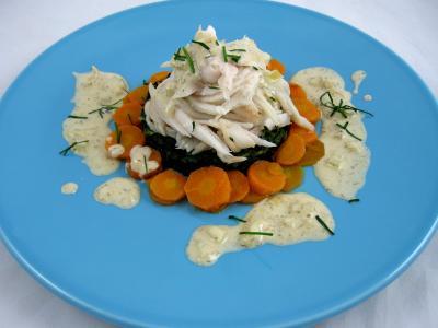 Aile de raie : Assiette d'ailes de raie aux carottes et aux bettes