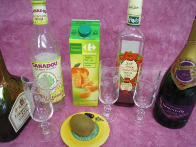 Ingrédients pour la recette : Cocktail de Pâques au Champagne