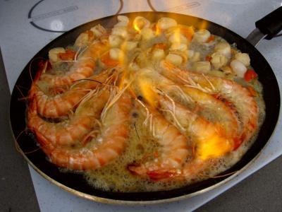 Crevettes flambées et sa sauce au citron et sa purée de fenouil - 10.1