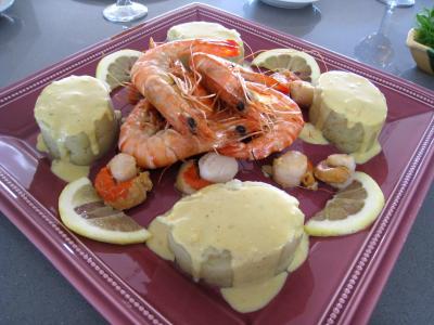 Crevettes flambées et sa sauce au citron et sa purée de fenouil - 12.1
