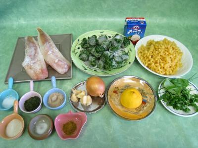 Ingrédients pour la recette : Colin et espadon avec sauce aux fines herbes