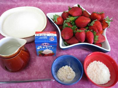 Ingrédients pour la recette : Confiture de fraises à la crème de coco