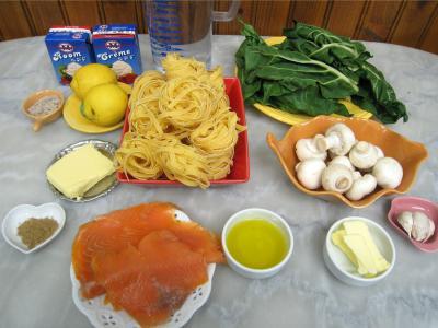 Ingrédients pour la recette : Tagliatelles au citron et à la truite fumée