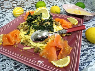 Image : Plat de tagliatelles au citron et à la truite fumée