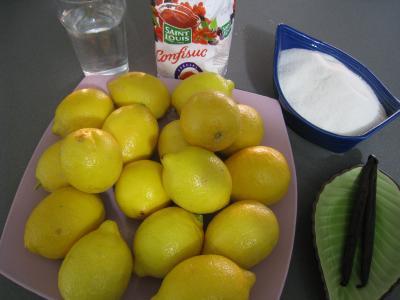 Ingrédients pour la recette : Gelée de citrons à la vanille