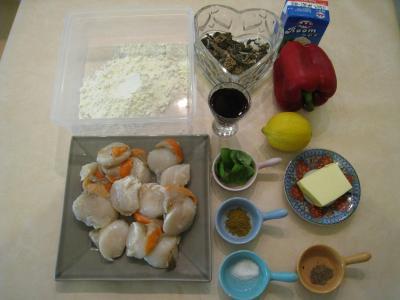Ingrédients pour la recette : Coquilles Saint-Jacques aux poivrons