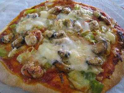 pizza moule : Pizza marinara aux moules à l'italienne
