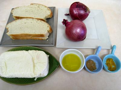 Ingrédients pour la recette : Croûtes à la mozzarella et aux oignons