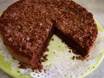Image : recette Gâteau au chocolat et son coulis de melon et pêches