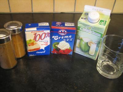 Ingrédients pour la recette : Jus de pommes à la crème