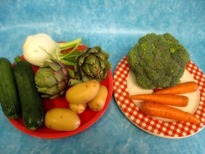 Ingrédients pour la recette : Légumes vapeur (artichauts, brocolis, carottes, fenouil)