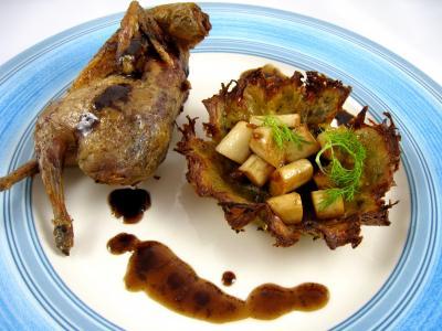 Recette Assiette de caille rôtie et son nid de pâques