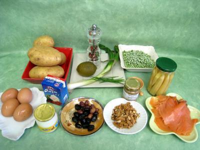 Ingrédients pour la recette : Pommes de terre et saumon en salade