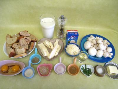 Ingrédients pour la recette : Pouding à la mozzarella et sa sauce aux champignons