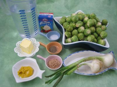 Ingrédients pour la recette : Choux de Bruxelles à la moutarde