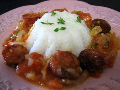 Photo : Assiette de rougail de saucisses fumes